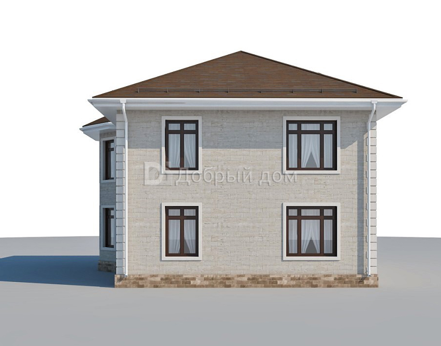 Проект дома 11.5 м х 11.1 м с четырехскатной крышей