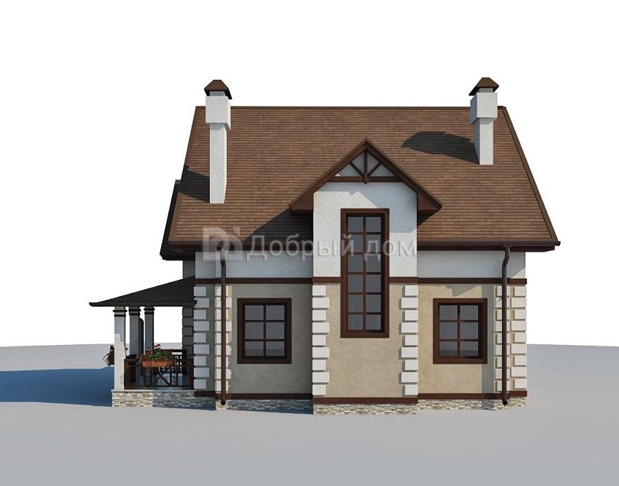 Дом 10,3×10,1 м. с двускатной крышей