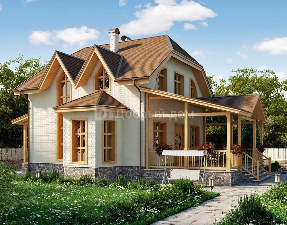 Проект дома 15,7×11,6 м. с мансардной крышей