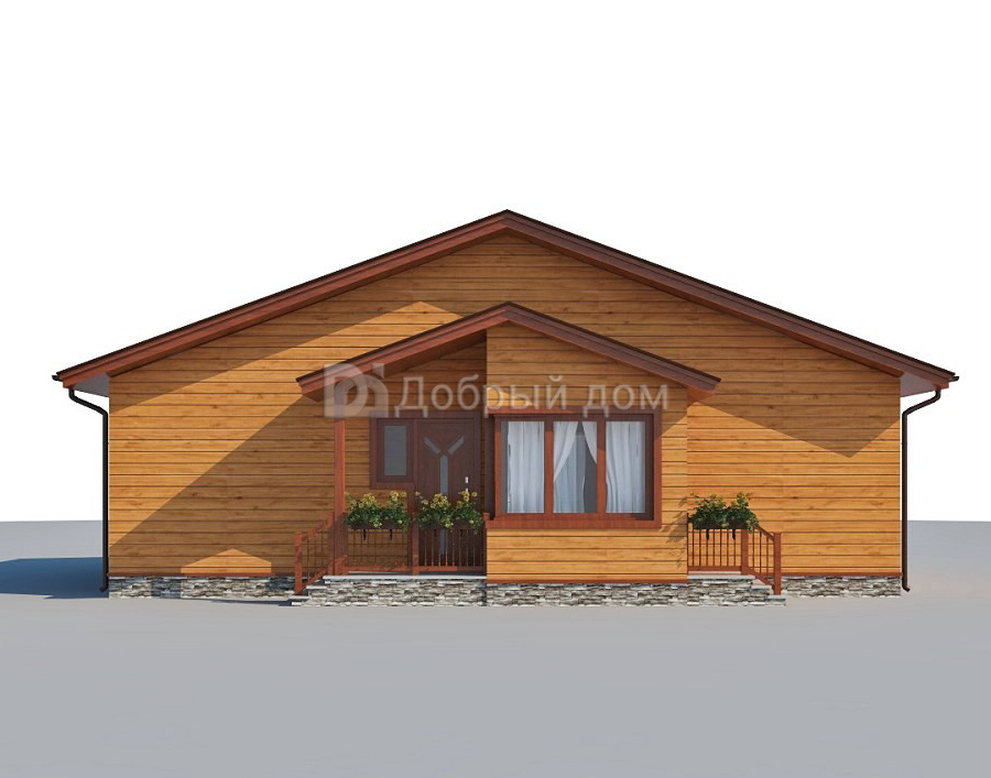 Проект дома 12.5 м х 9.4 м с двускатной крышей