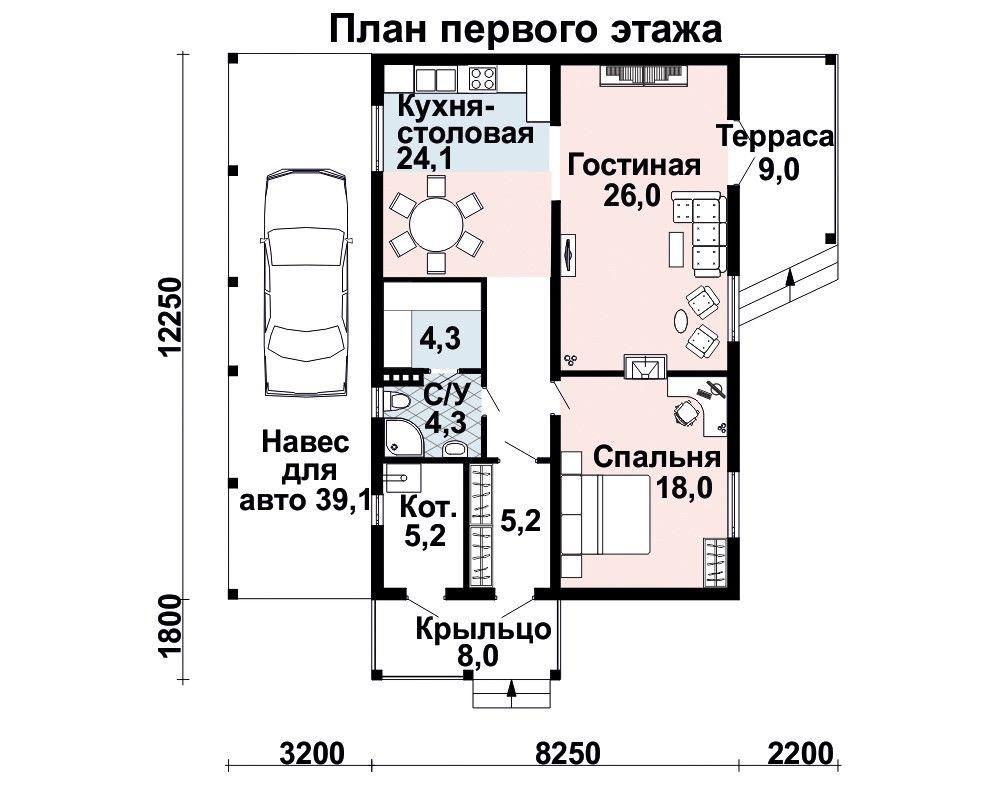 Проект дома 12×8 м. с четырехскатной крышей