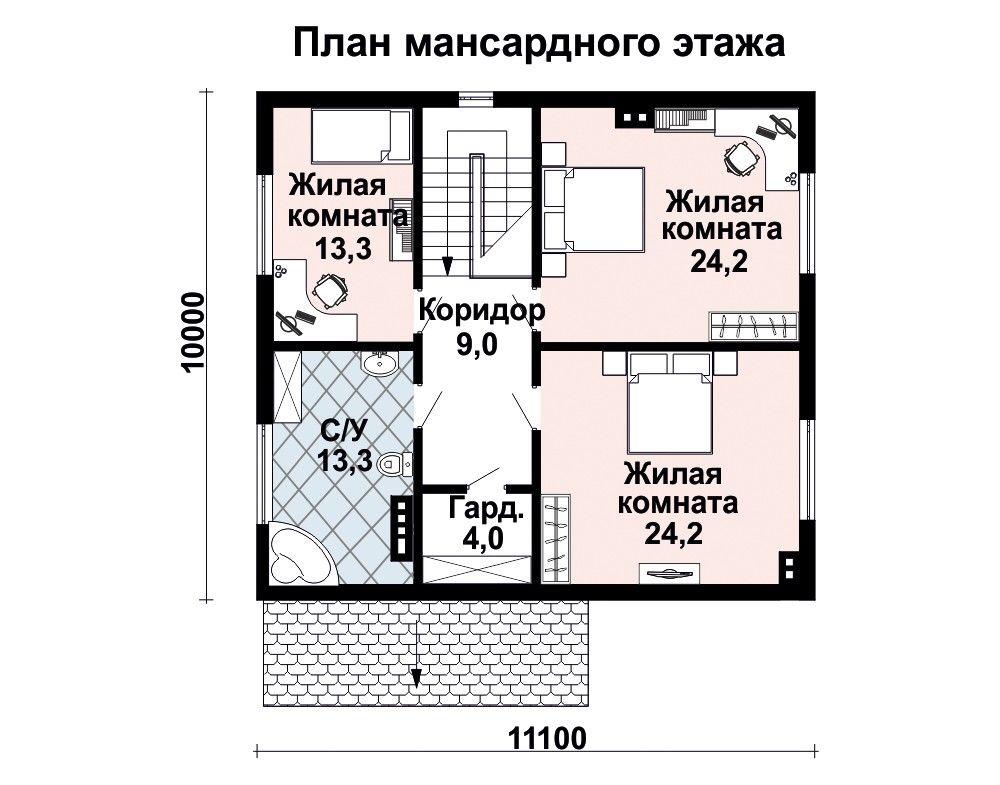 Проект дома 11 м х 10 м с двускатной крышей
