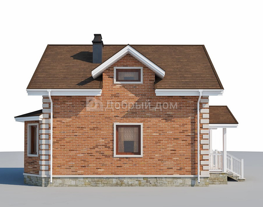 Дом 9,43×7,63 м. с двускатной крышей