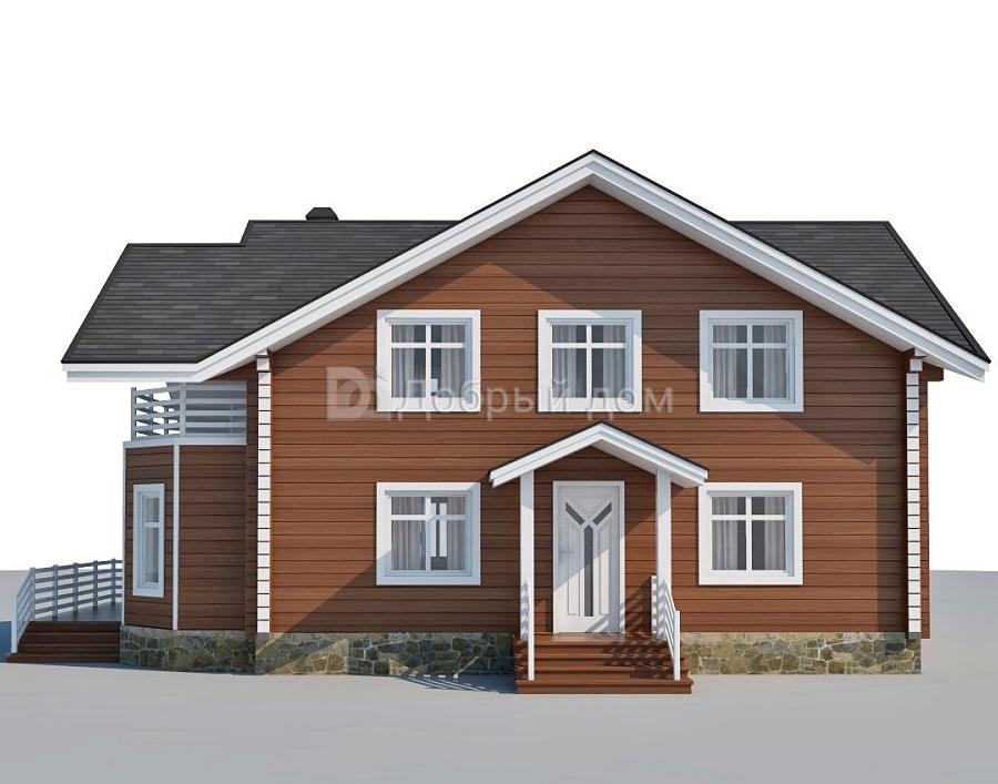 Проект дома 12.9 м х 8.6 м с двускатной крышей