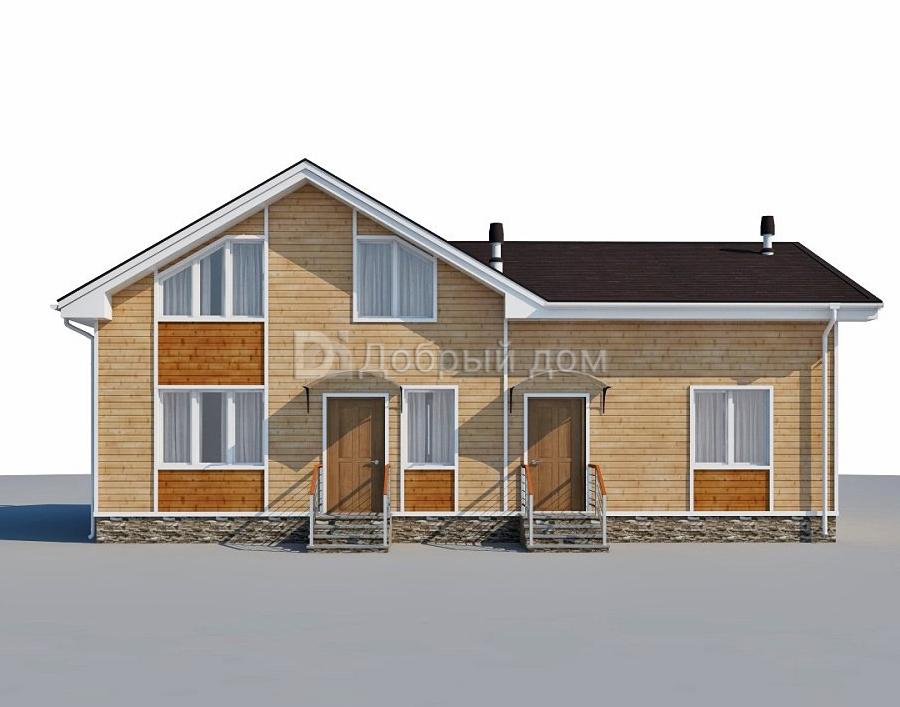 Проект дома 14 м х 8.9 м с двускатной крышей