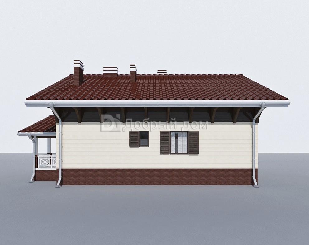 Проект дома 13.1 м х 10.6 м с двускатной крышей