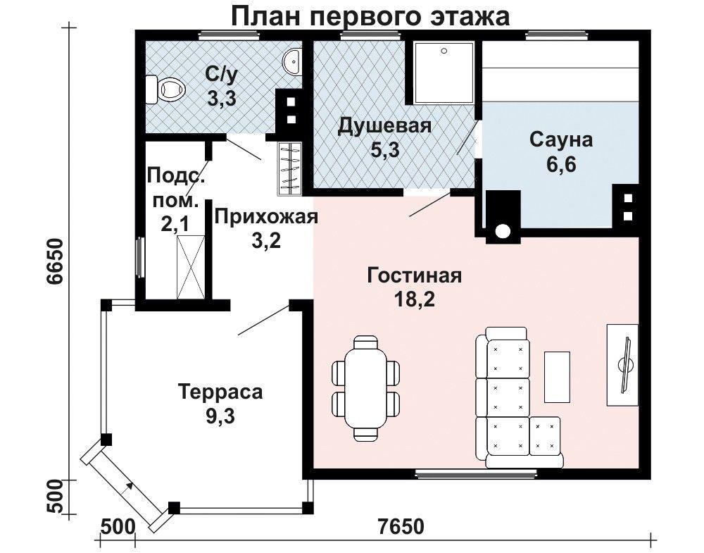 Баня 7.7 м × 6.7 м