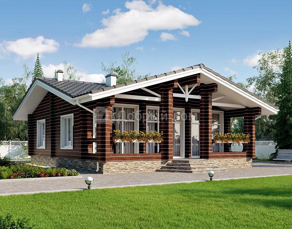 Проект дома 11.7 м х 9.8 м с двускатной крышей