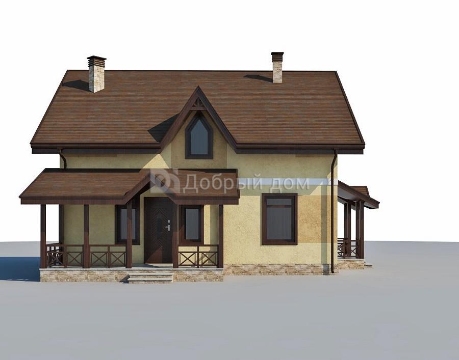 Дом 10,5×9,3 м. с двускатной крышей