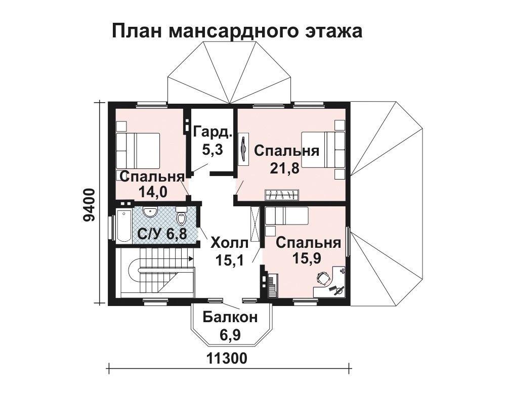 Проект дома 13.8 м х 11.3 м с двускатной крышей