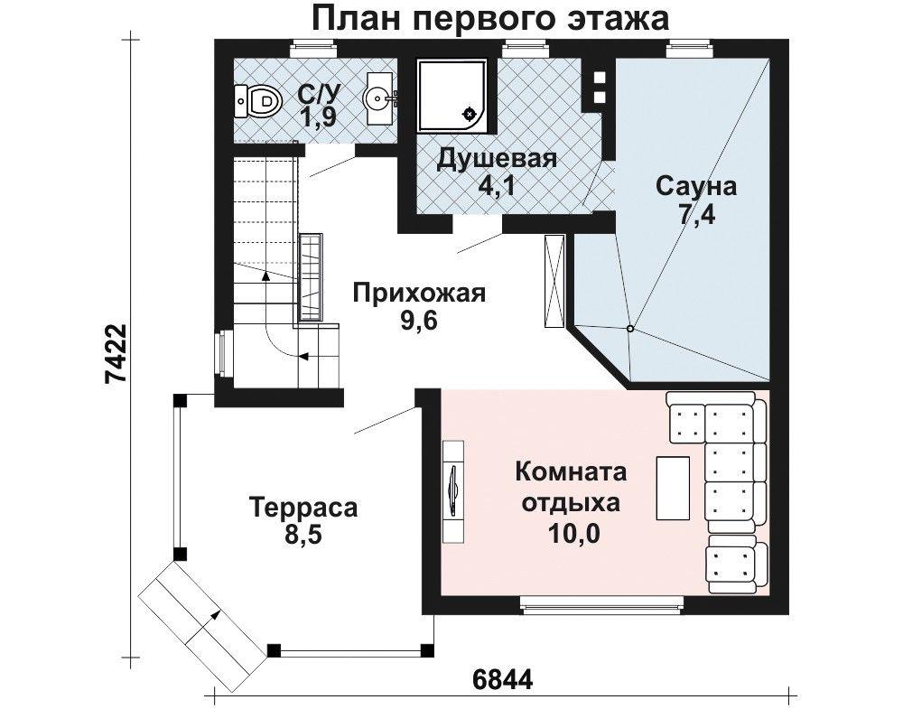 Проект бани 6,8×6,8 м. с четырехскатной крышей