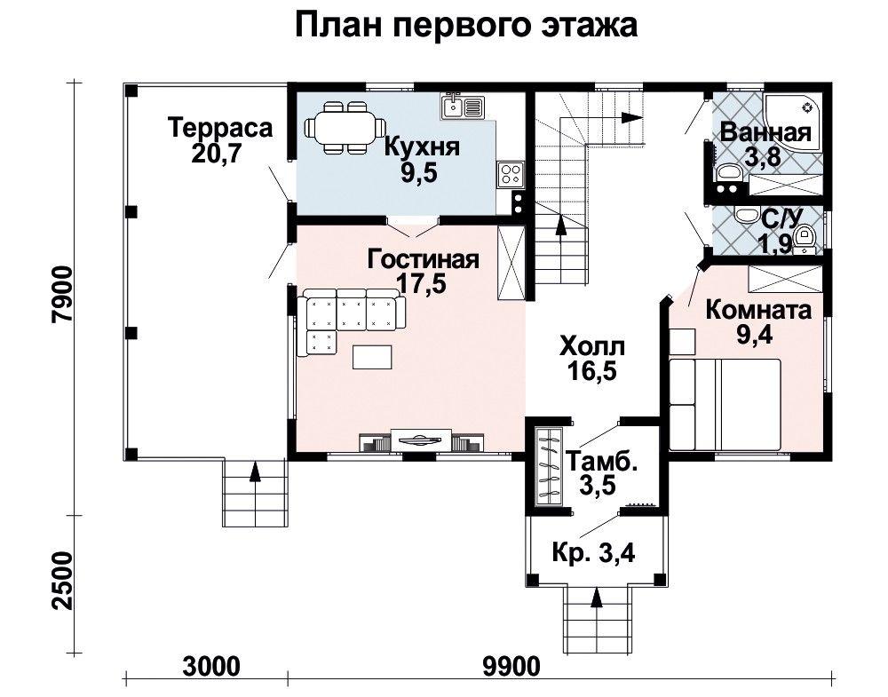 Дом 9,9×7,9 м. с двускатной крышей
