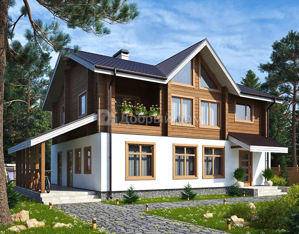 Проект дома 11.5 м х 8.7 м с двускатной крышей