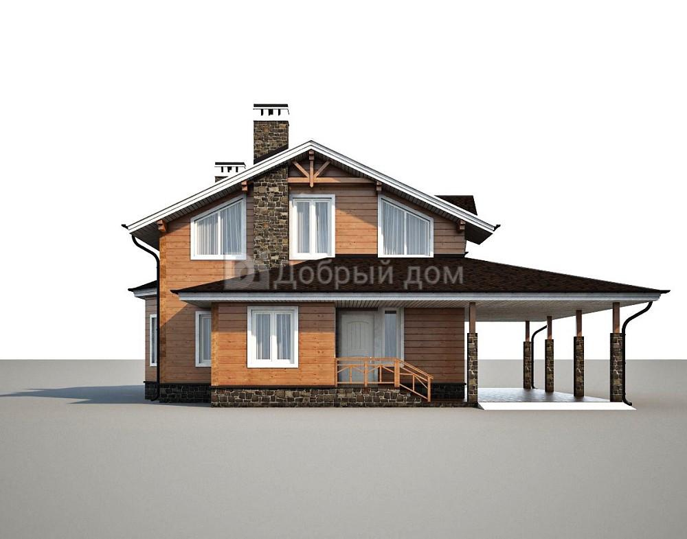 Проект дома 14 м х 13 м с двускатной крышей
