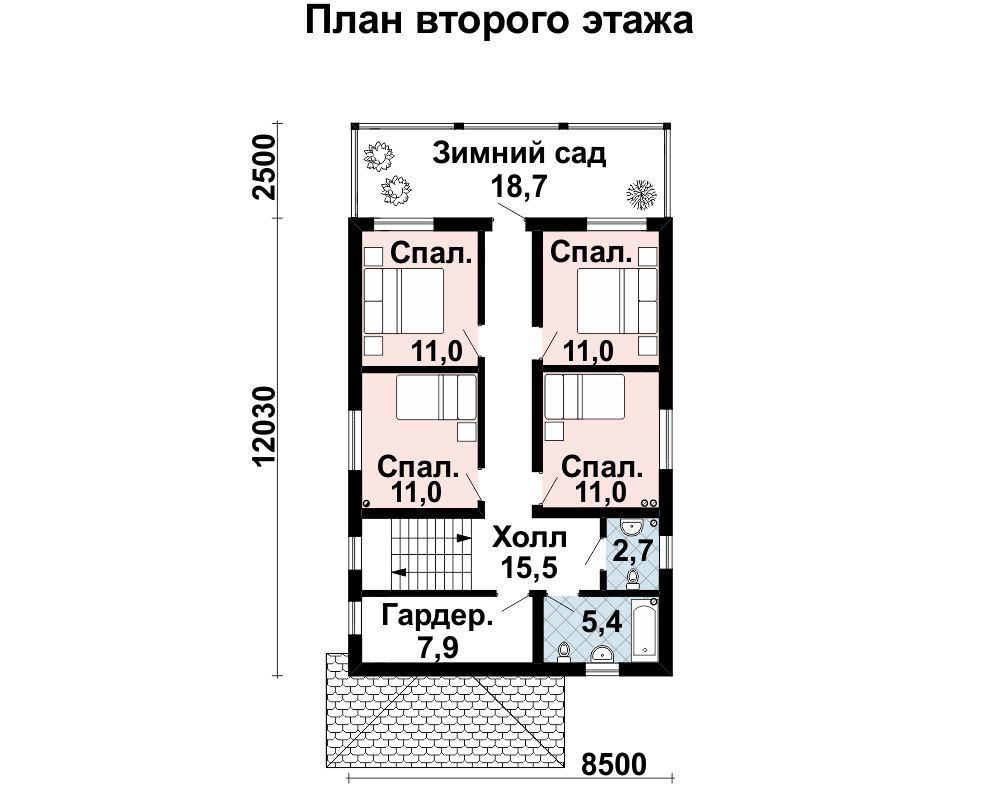 Дом 16×8 м. с четырехскатной крышей