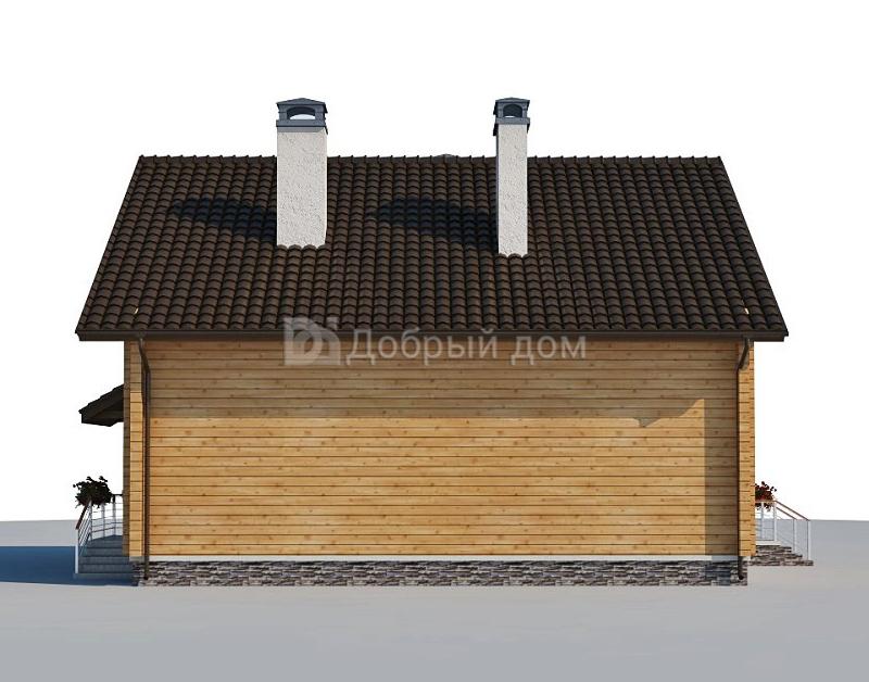 Проект дома 12.1 м х 10 м с двускатной крышей