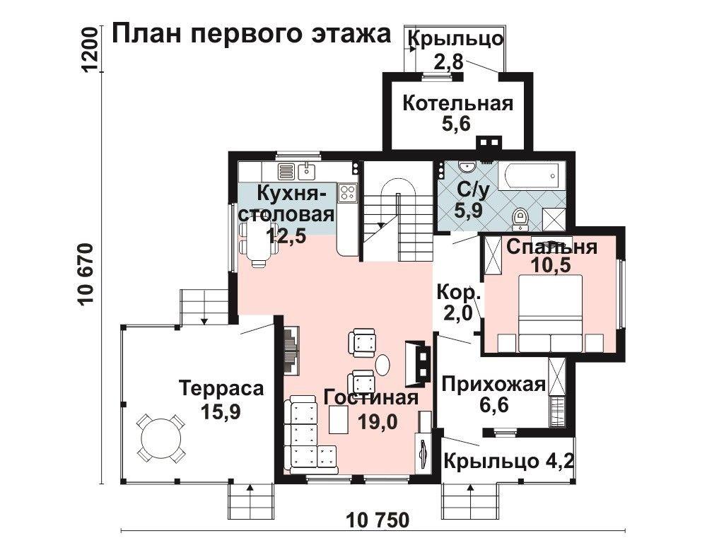 Дом 13,2×10,6 м. с четырехскатной крышей