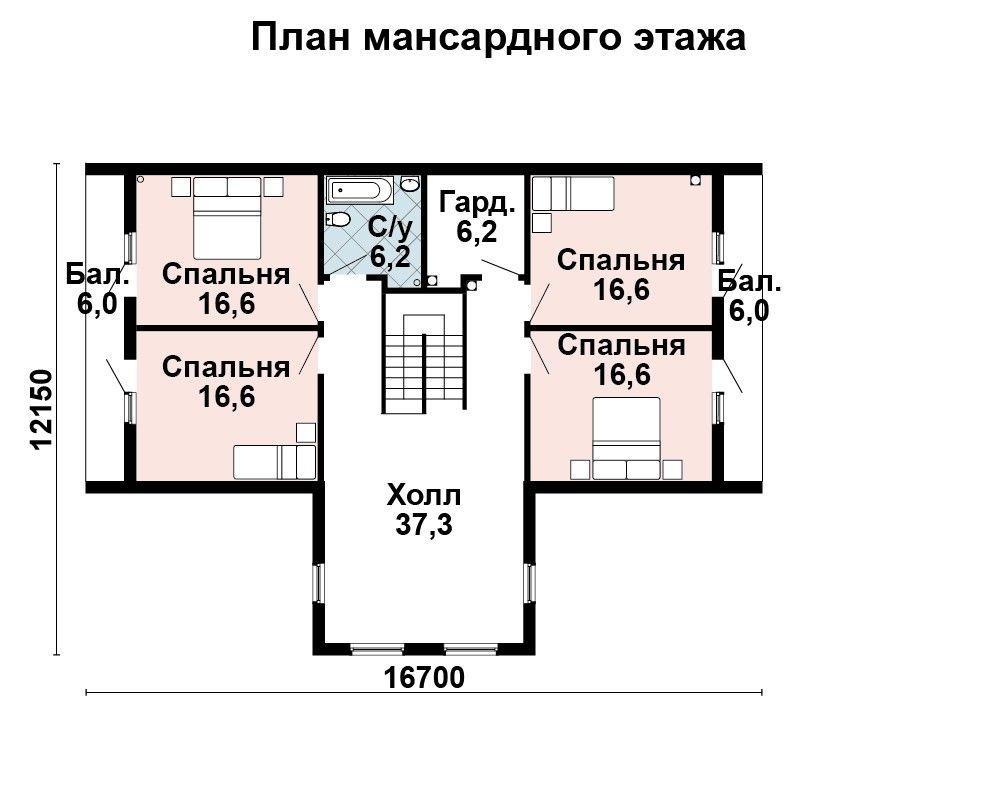 Проект дома 16.7 м х 12.2 м с двускатной крышей