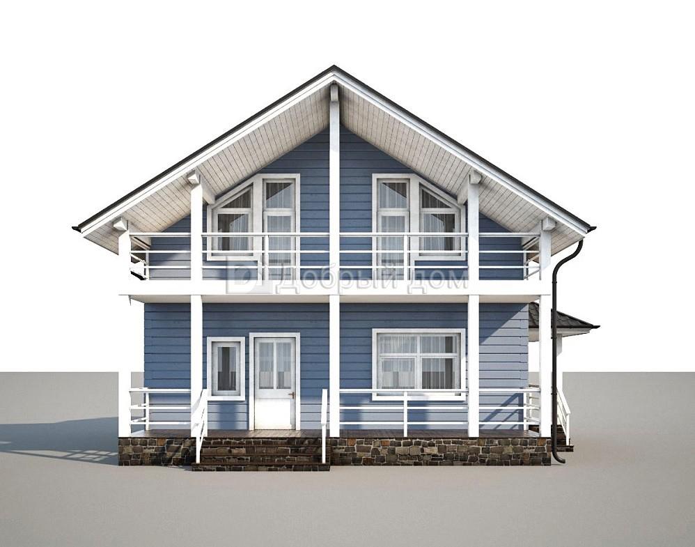 Дом 10,2×9,1 м. с двускатной крышей
