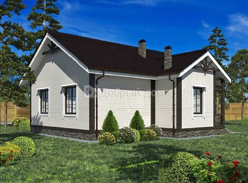 Дом 12×11 м. с двускатной крышей
