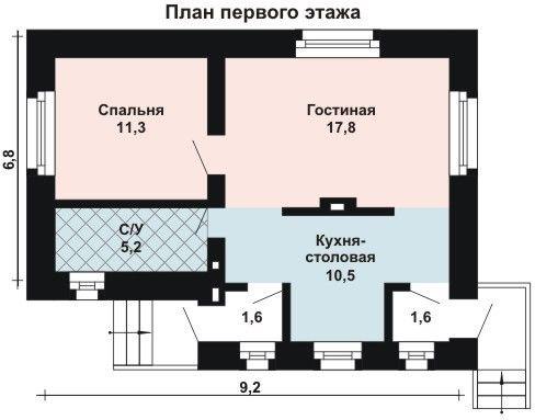 Дом 9,2×6,8 м. с двускатной крышей