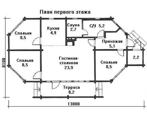 Проект дома 13.8 м х 8.1 м с мансардной крышей