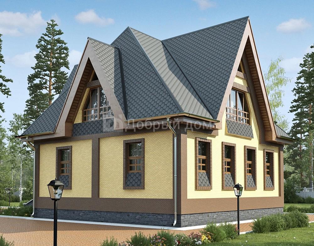 Проект дома 10.6 м х 8.6 м с мансардной крышей