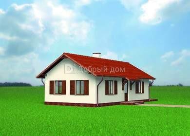 Дом 12,8×7 м. с двускатной крышей