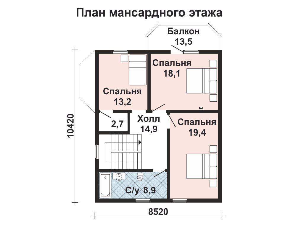 Дом 12,2×9,45 м. с мансардной крышей