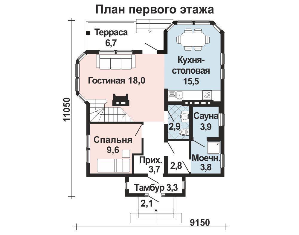 Проект дома 10.2 м х 8.3 м с двускатной крышей