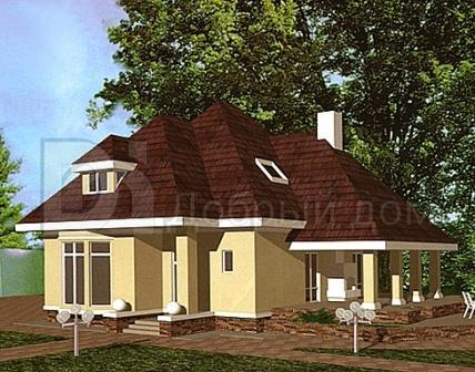 Дом 12,5×10 м. с четырехскатной крышей