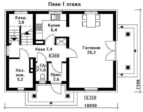 Дом 10,09×7,39 м. с двускатной, мансардной крышей