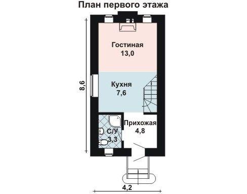 Проект дома 8,6×4,2 м. с двускатной, мансардной крышей