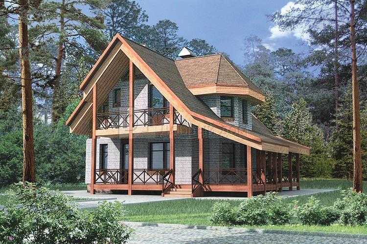 Дом 10,3×9,3 м. с двускатной крышей