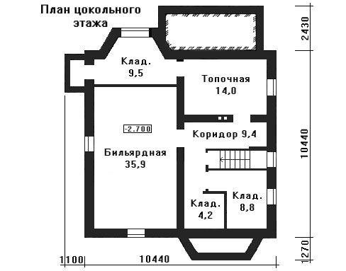 Дом 14,74×14,14 м. с четырехскатной крышей