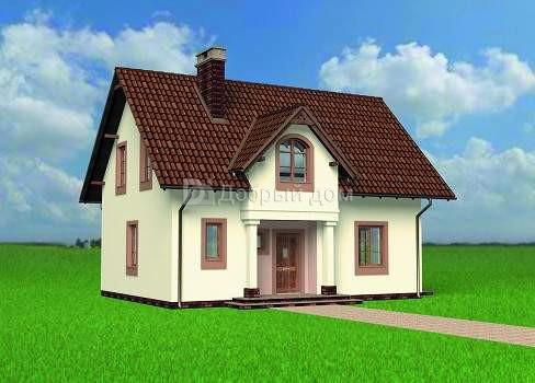Дом 10,1×7,4 м. с двускатной крышей