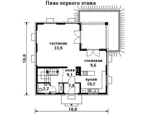Проект дома 10×10 м. с четырехскатной крышей