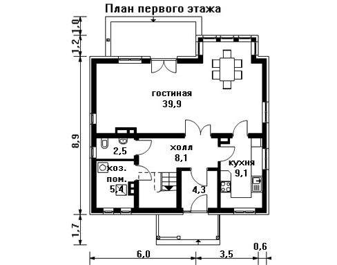Дом 10,1×10,1 м. с двускатной крышей