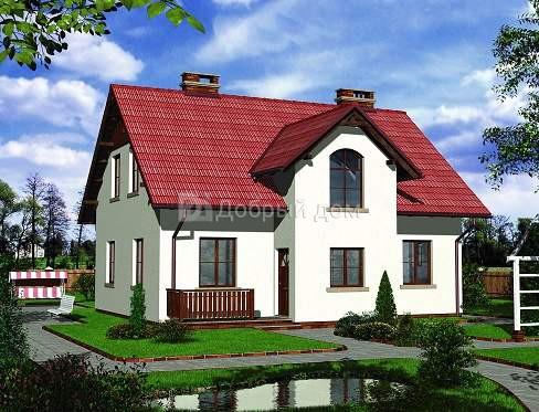 Дом 11,3×10,7 м. с двускатной крышей