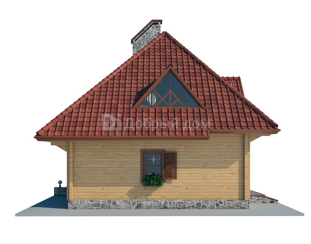 Проект дома 9.4 м х 8 м с мансардной крышей