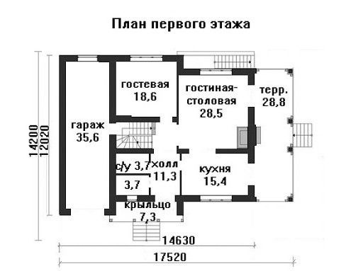 Дом 14,63×12,02 м. с двускатной крышей