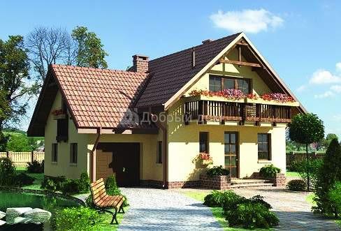 Дом 12,2×10,1 м. с мансардной крышей