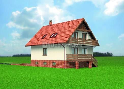Дом 10,8×7,8 м. с двускатной крышей