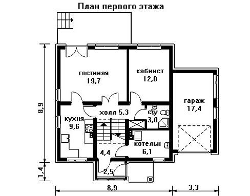 Дом 12,2×10,3 м. с двускатной крышей