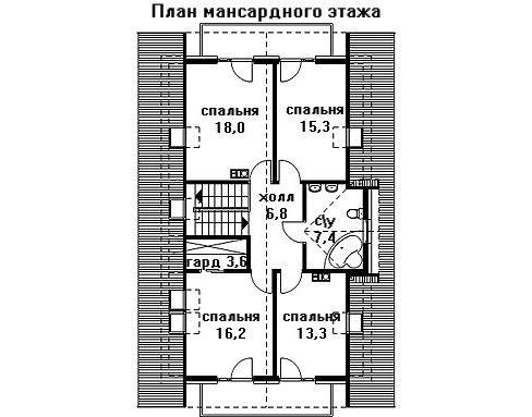 Дом 12,7×8,1 м. с двускатной крышей