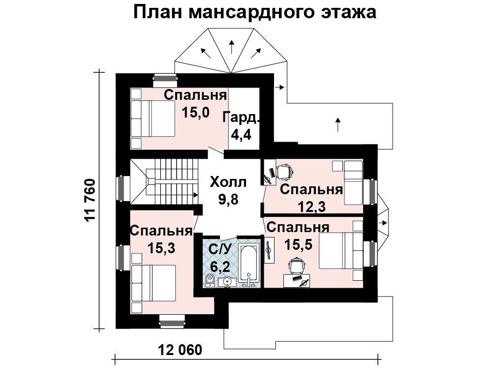 Дом 12,25×11,1 м. с мансардной крышей