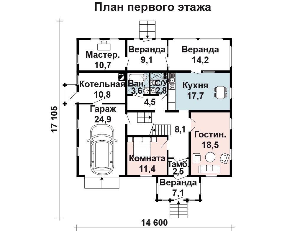 Проект дома 13.3 м х 11.9 м с мансардной крышей
