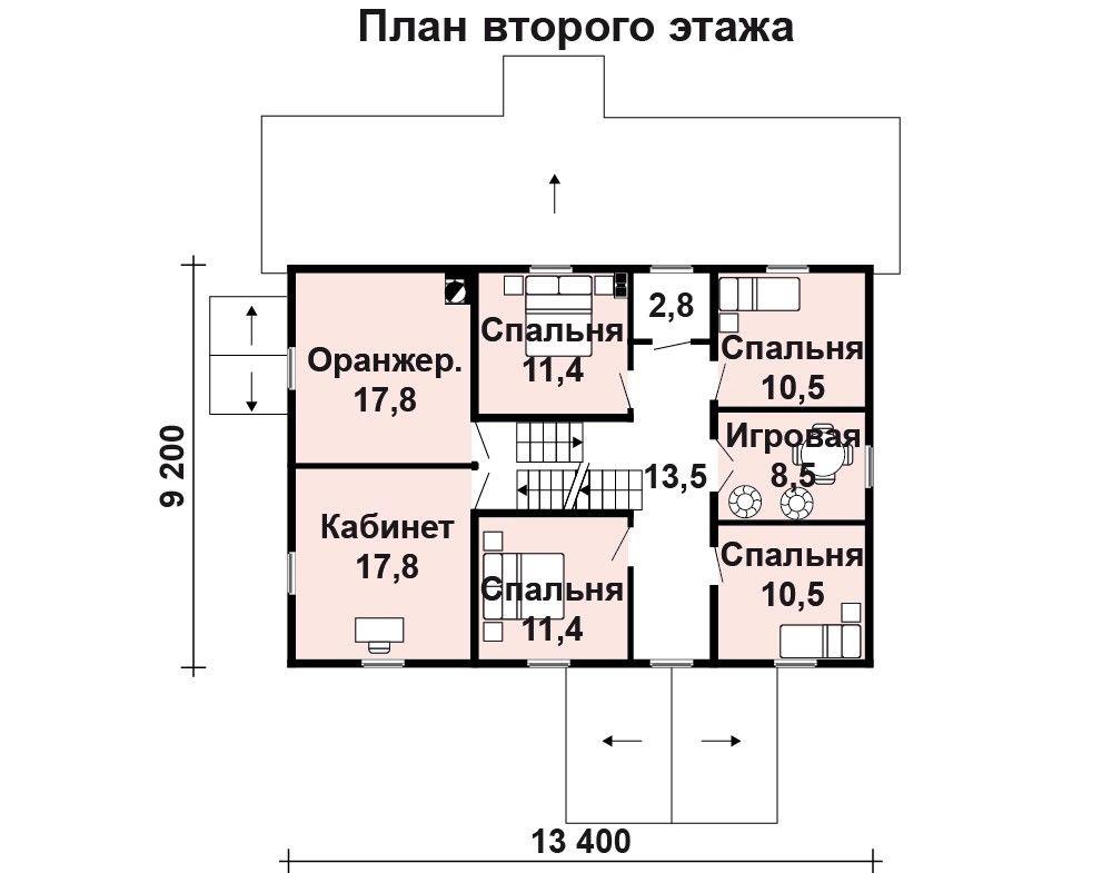 Дом 13,3×11,9 м. с мансардной крышей