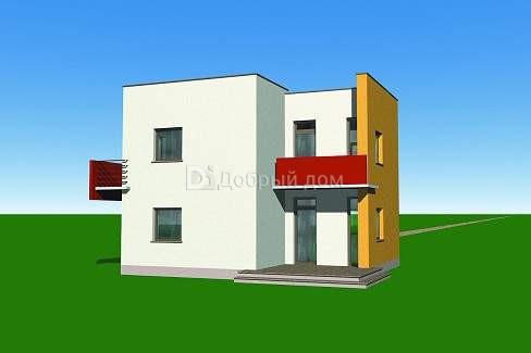Дом 10,1×9,9 м. с плоская крышей