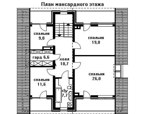 Дом 12,3×12,3 м. с двускатной крышей